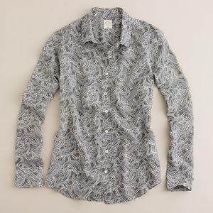 J. Crew Grey Paisley Silk Blend Perfect Shirt